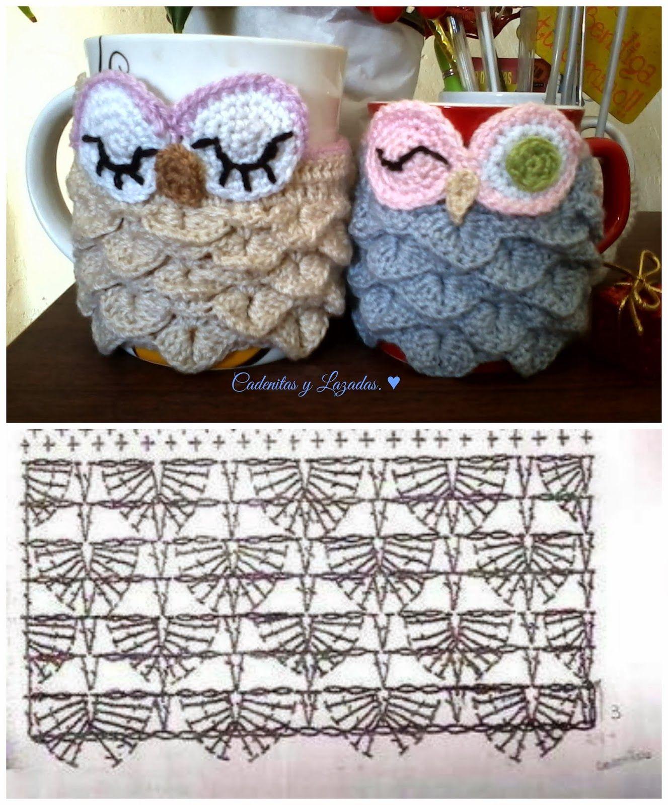 Cadenitas y lazadas: ♥ PAP Owl Cup Cozy | Crochet vaso y frascos ...