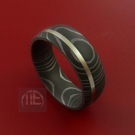 Damascus Steel 14K White Gold Ring Wedding by StonebrookJewelry, $298.92