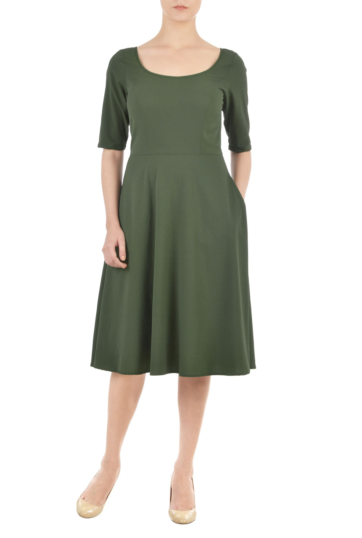 Stretch twill fitandflare dress