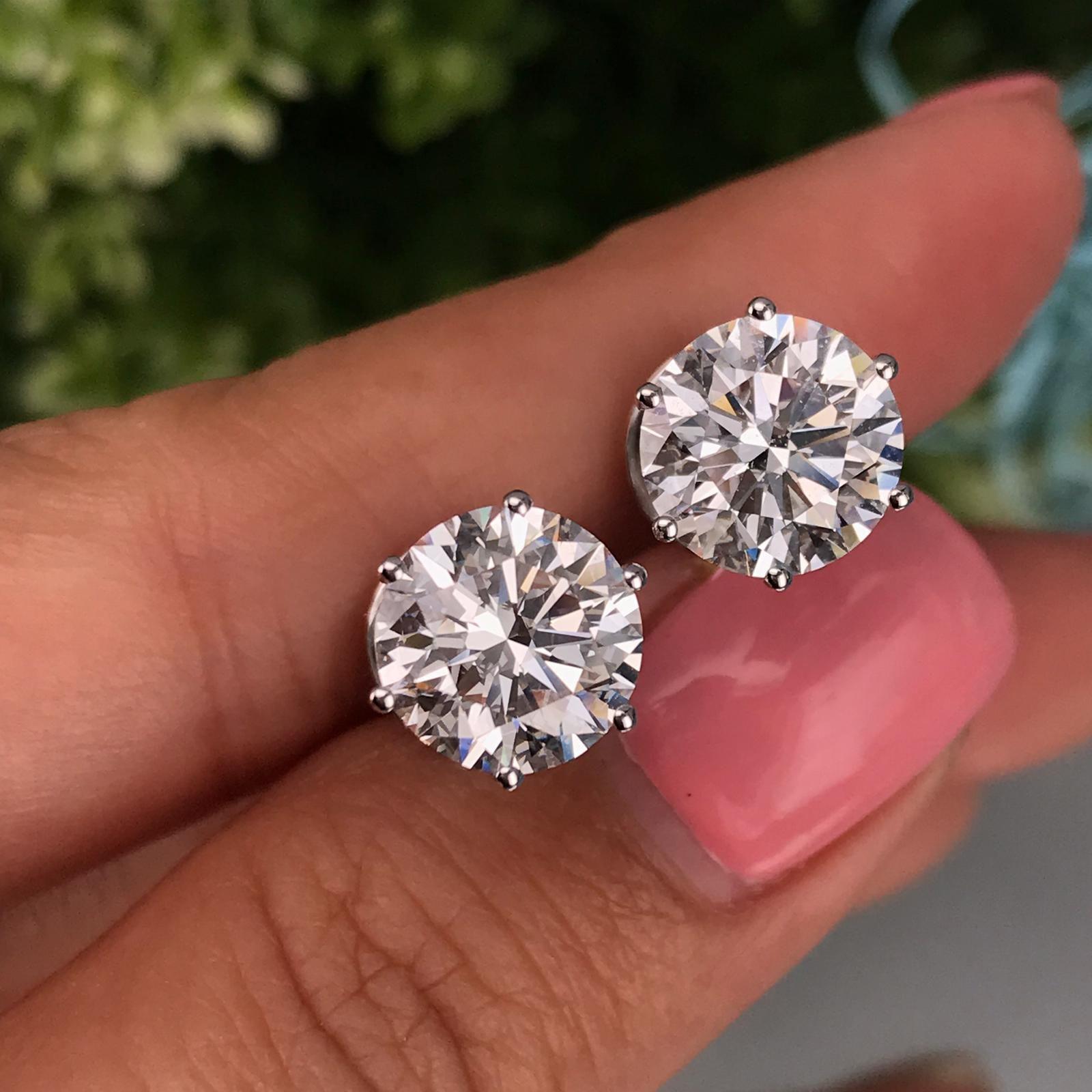 3 Carat Diamond Platinum Studs Diamond Earrings Studs Small Silver Earrings Custom Diamond Jewelry