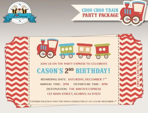 ChooChoo Train Birthday Party Train Ticket Invite Party