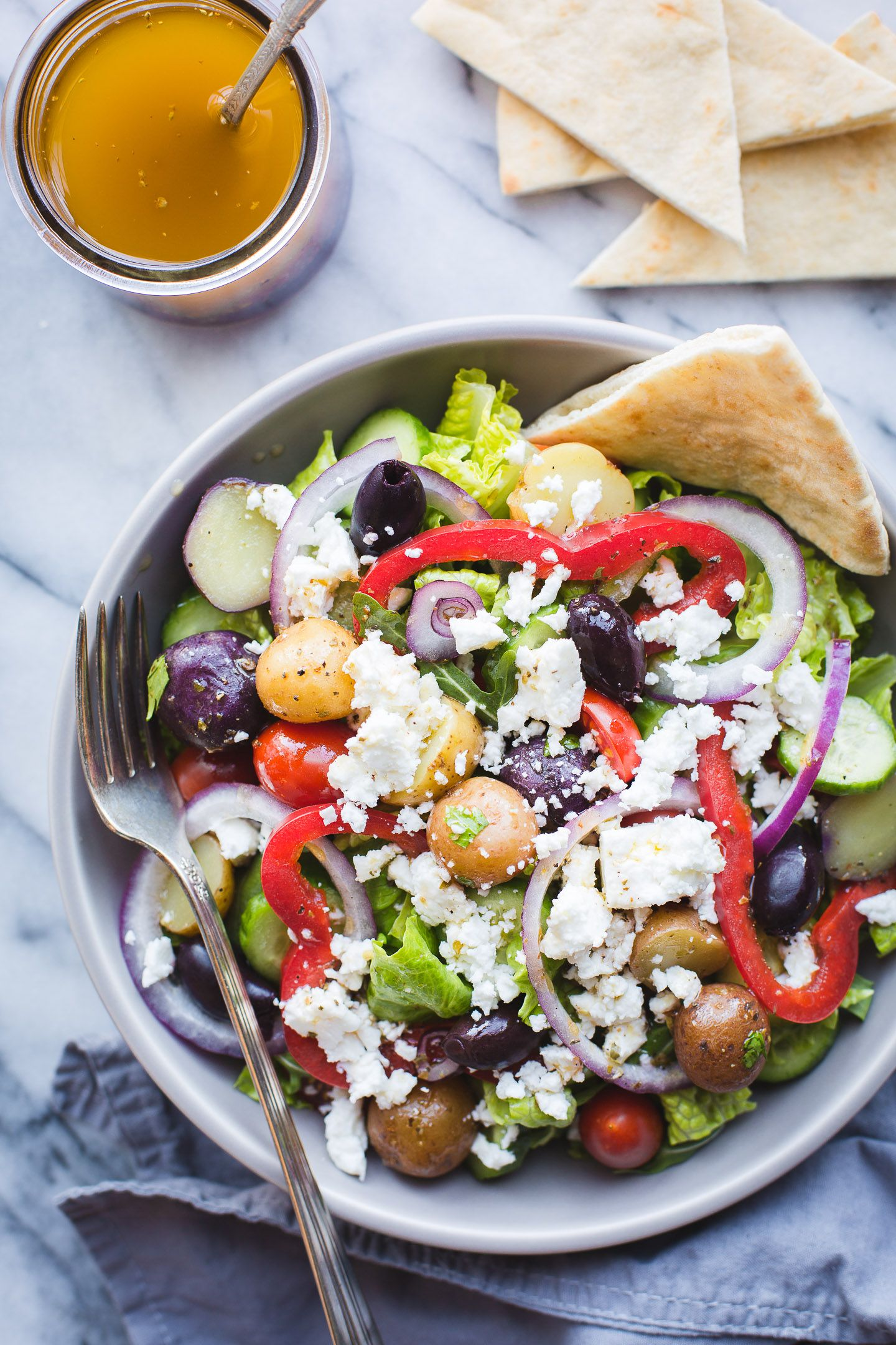 Greek Salad With Baby Potatoes Recipe In 2020 Greek