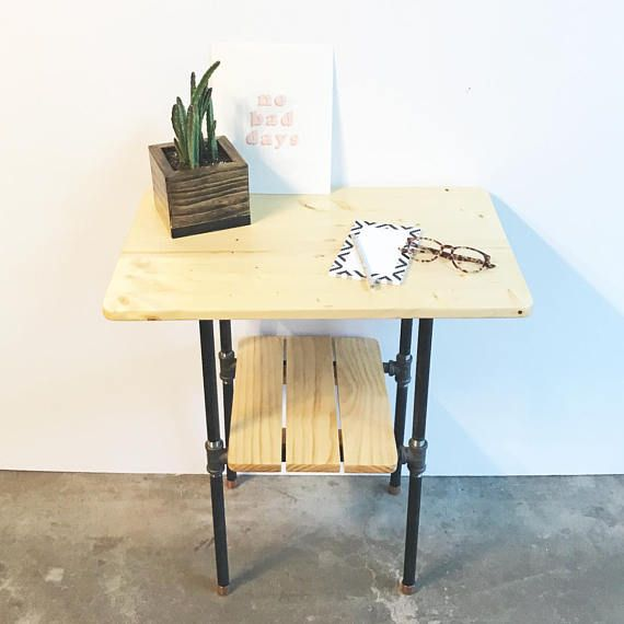 Best Modern Industrial 2 Tiered Nightstand With Removable Shelf 640 x 480