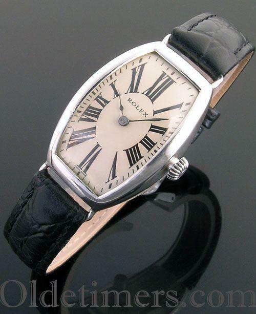 1920 silver tonneau vintage Rolex watch - Olde Timers #rolexwatches