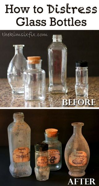 How to Distress Glass Bottles is part of Halloween apothecary, Halloween bottles, Halloween potions, Halloween diy, Glass bottles, Halloween projects - How to age glass so it looks old  Vintage bottles transformed by distressing  Step by step tutorial