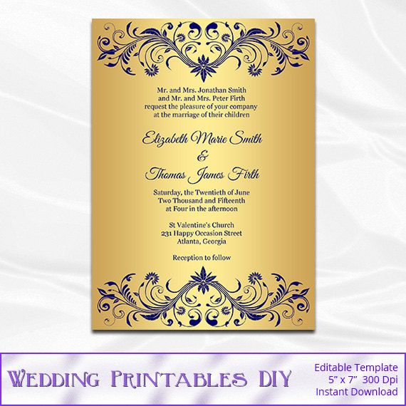 Navy And Gold Wedding Invitation Template By Weddingprintablesdiy