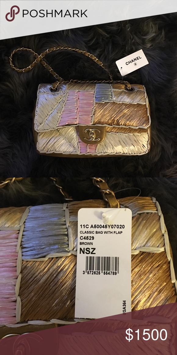 23f48c6ee570ce CHANEL RAFFIA FLAP SHOULDER BAG Metallic gold/brown leather Chanel bag with multicolor  raffia panels