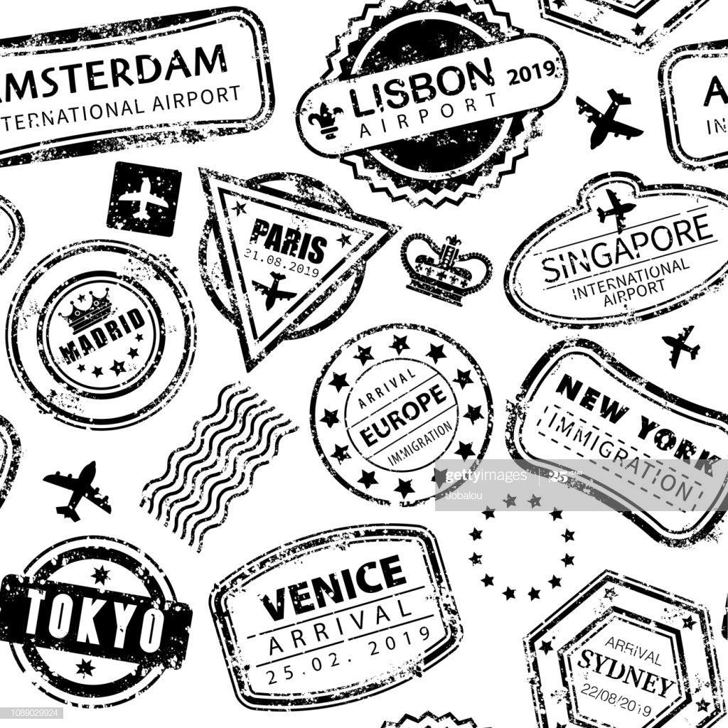 Vector Illustration Of A Beautiful Seamless Background With Stamp Illustration Seamless Background Free Vector Art
