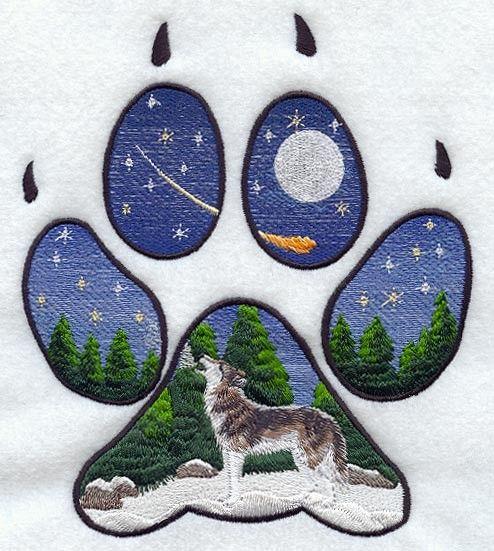 Wolf Paw Printz Scene Machine Embroidered Quilt Block