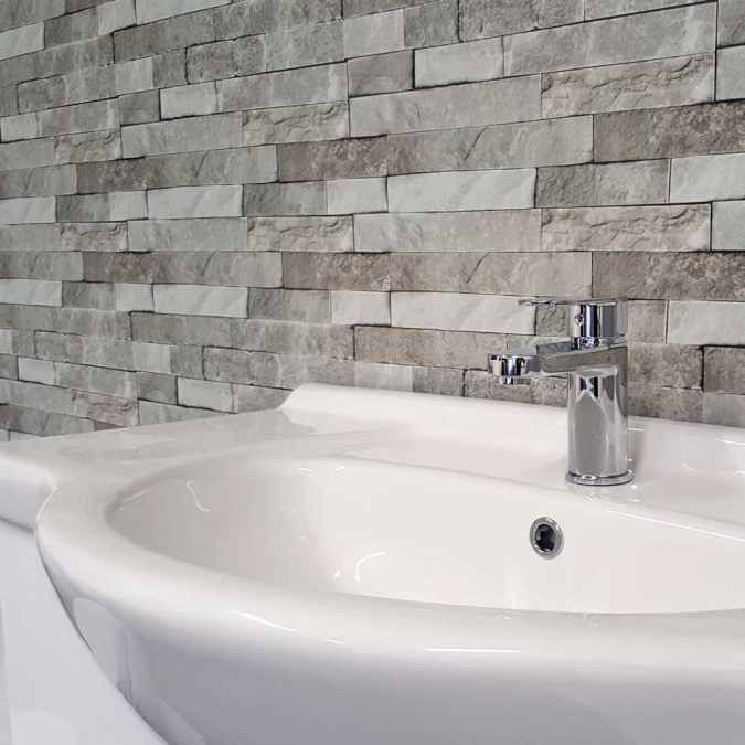 Grey Brick Plastic Upvc Wall Panels 2 8m 3 Pack Neptune 400 Bathroom Cladding Pvc Wall Panels Brick Bathroom