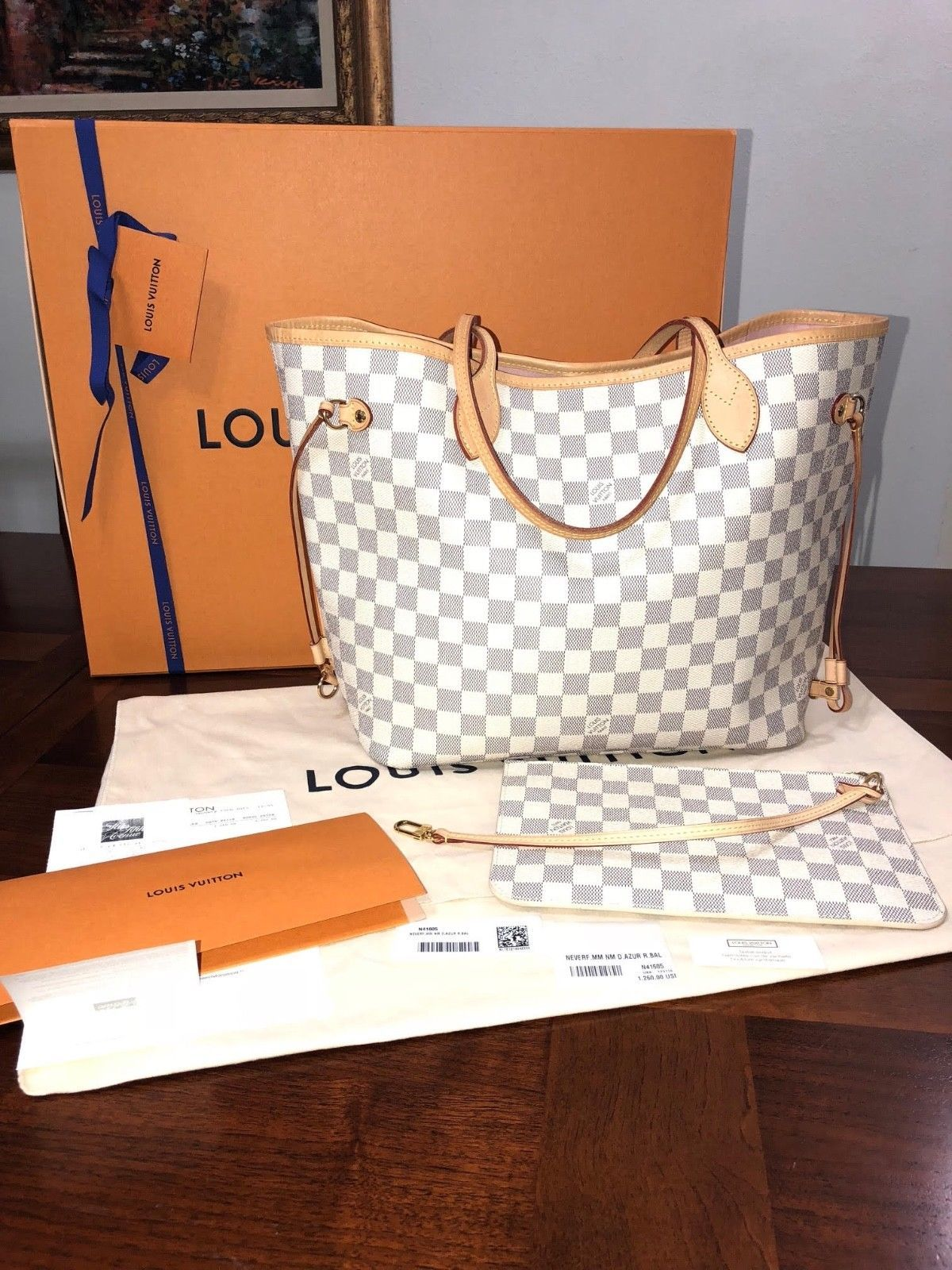 AUTHENTIC LOUIS VUITTON DAMIER AZUR ROSE BALLERINE NEVERFULL MM with BOX  RECEIPT 747dd313afc62
