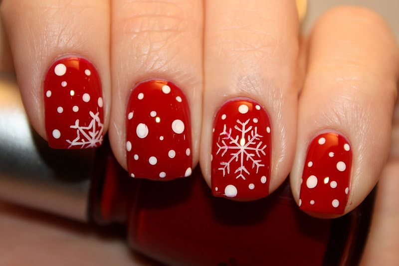 Christmas Red Snowflake Nail Design