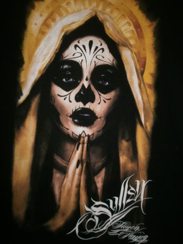 6a11eab79 Sullen Angels Simon Hayag Pray Pin up Girl Day of the Dead Tattoo XL t shirt