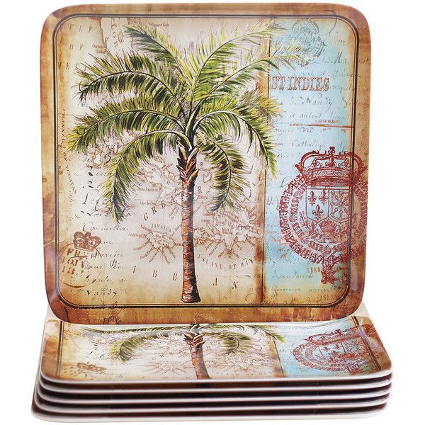 Certified International Antique Palms Square Dinner Plate (105 BRL) ❤ liked on Polyvore featuring home, kitchen & dining, dinnerware, antique plates, melamine dinner plates, melamine square plates, melamine dinnerware and melamine square dinner plates