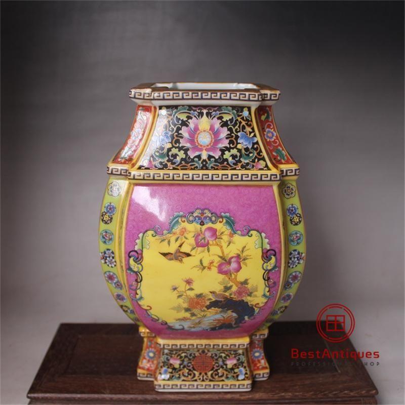 China antique Porcelain colour enamels QING YONGZHENG Flowr bottle vase.