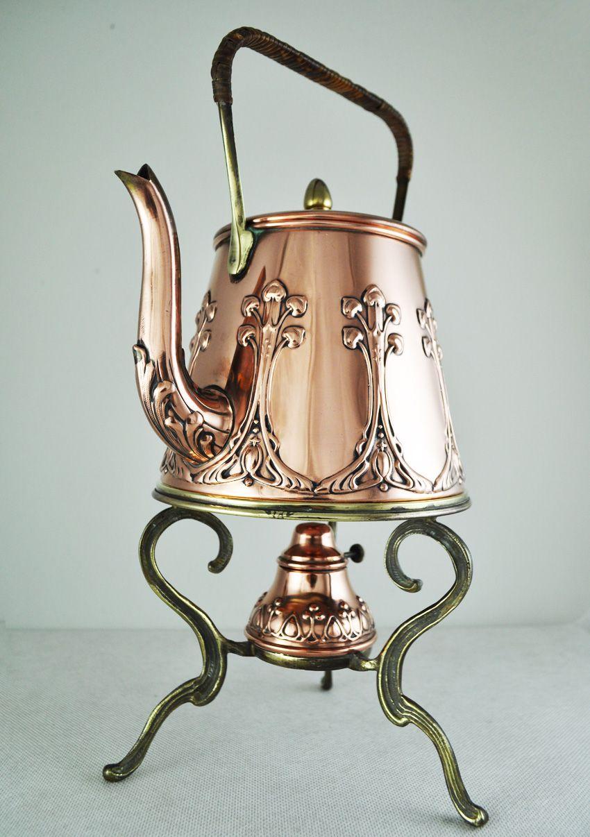 Art Nouveau Antique Tea Pot Spirit Kettle Deco Vintage Copper Brass German Ebay Copper Tea Kettle Copper Decor Tea Pots