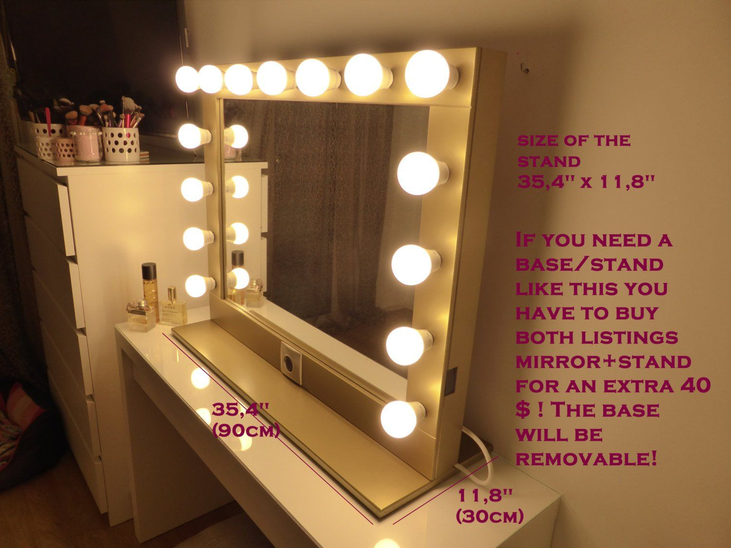 Hollywood Lighted Vanity Mirror Large Makeup With Lights Wall Hanging Free Standing Perfect For Ikea Malm Bulbs Not Included
