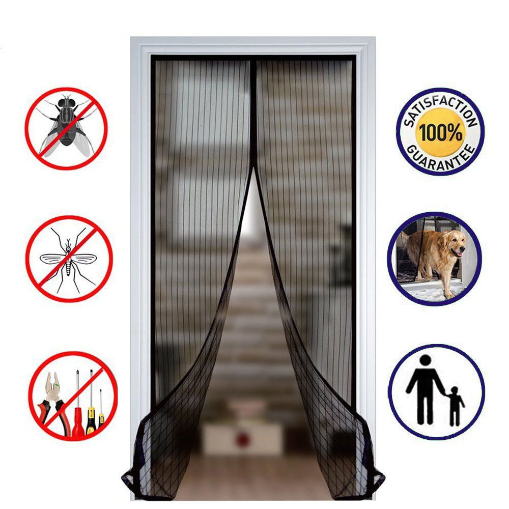 Magic Mesh Magnetic Screen Door Insect Bug Mosquito Door Net Curtain Fiberglass Magnetic Screen Door Mesh Door Curtains