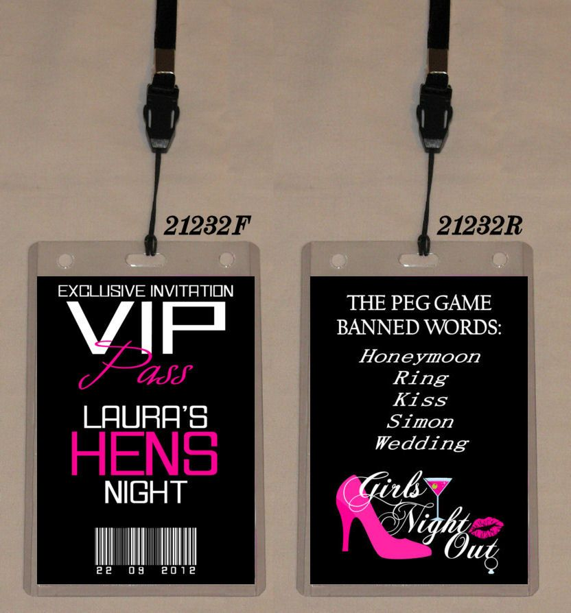 HENS NIGHT PARTY VIP PASS INVITATION & LANYARD - Double Sided ...