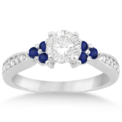 Floral Diamond and Sapphire Engagement Ring 14k White Gold (0.30ct) -allurez.com