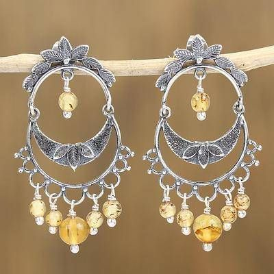 Shimmering cascade sterling silver and amber chandelier earrings shimmering cascade sterling silver and amber chandelier earrings from mexico mexican earrings affordable earrings beautiful silver earrings mozeypictures Images