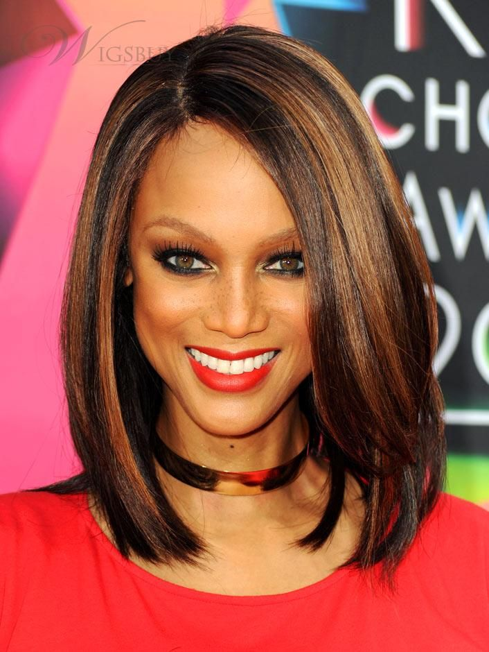 New Arrival Charming Tyra Banks Hairstyle Medium Straight Mixed ...