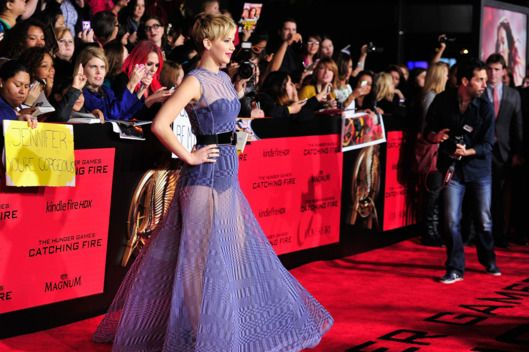 """Actress Jennifer Lawrence attends the premiere of Lionsgate's """"The Hunger Games: Cathching Fire"""" at Nokia Theatre L.A. Live on November 18, 2013 in Los Angeles, California."""