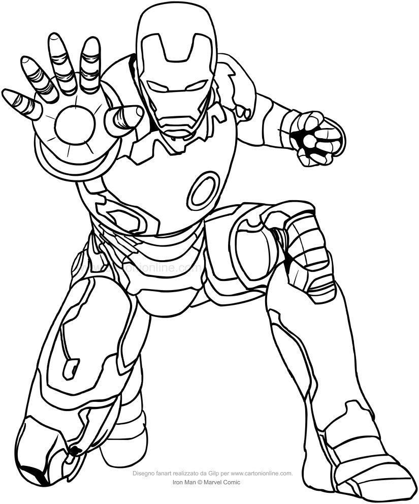 Disegno Di Iron Man Da Colorare Che Emana Il Raggio Propulsore Dalla Mano Disegni Da Colorare Disegni Iron Man