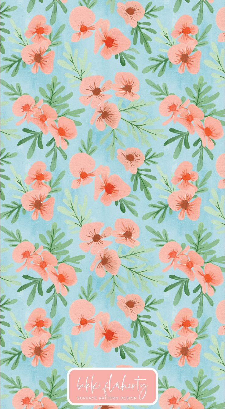 Hand painted floral pattern in gouache #surfacepatterndesign