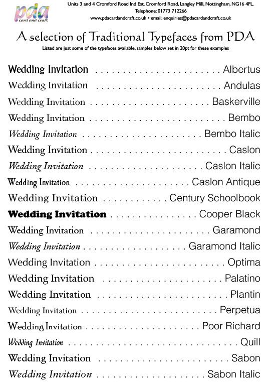 Traditional Typefaces wedding invitations Pinterest - survey form in pdf