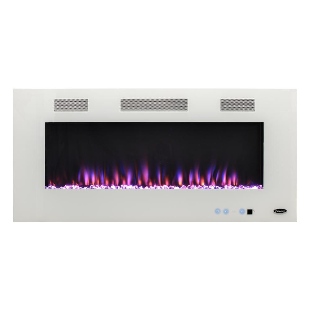 Paramount Premium 50 In Wall Mount Electric Fireplace In White Ef Wm391 Mo The Home Depot Wall Mount Electric Fireplace Electric Fireplace Led Color
