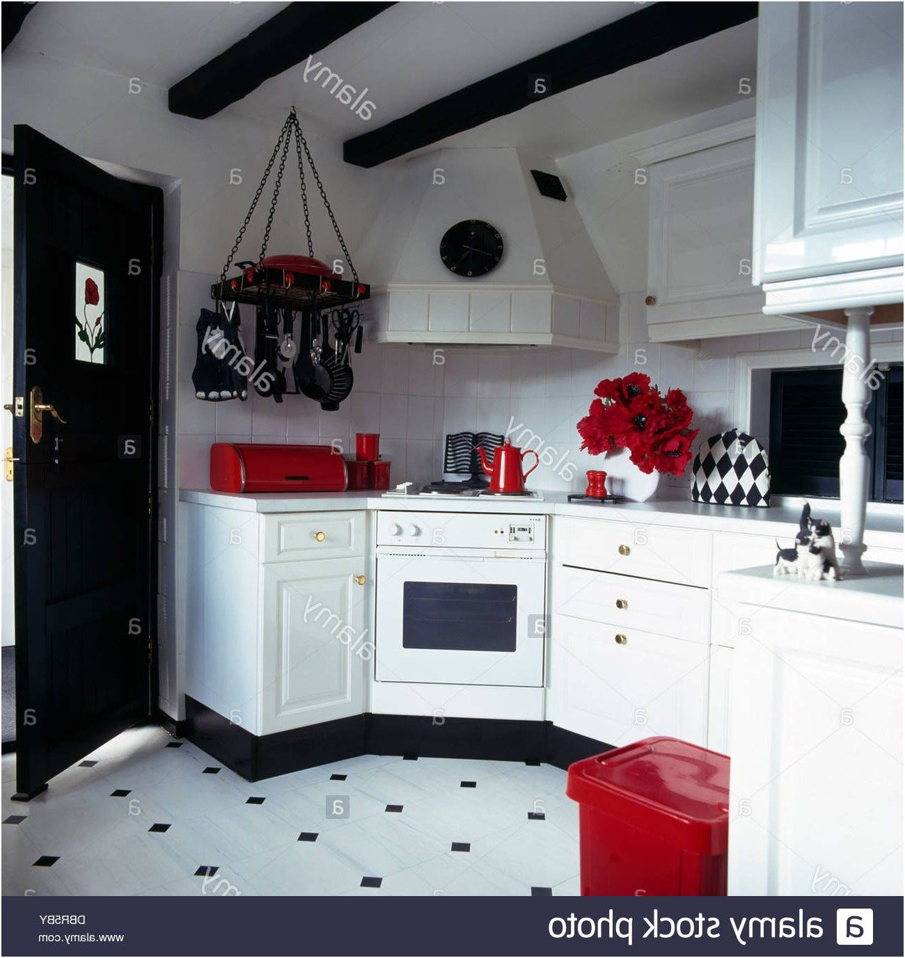 Red Accessories In Black And White Kitchen With Black White Vinyl From Kitchen Red Accessories