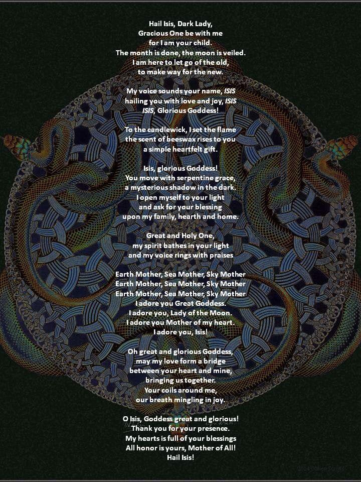 Prayer to Isis | Goddess and god chants | Isis goddess, Prayer for