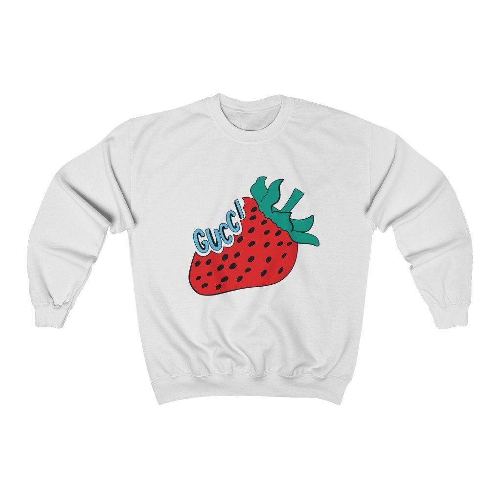 Retro Strawberry Gucci Vintage Gift For Her Valentine Brand Unisex Winged Bunny Vintage Gucci Crew Neck Sweatshirt Sweatshirts [ 1024 x 1024 Pixel ]