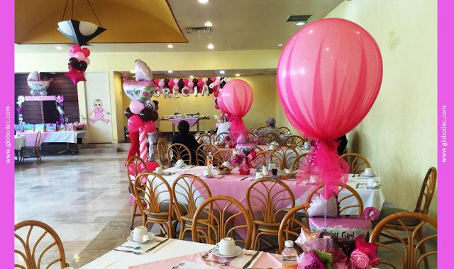 ideas de decoracin de baby shower para nia en globos http