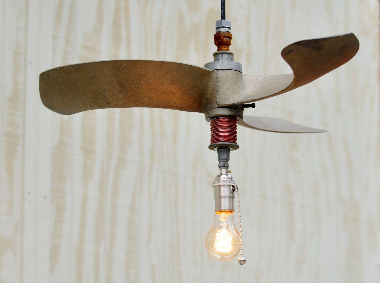 Industrial Light Hanging Vintage Three Blade Fan Pendant Light 155 00 Via Etsy Vintage Industrial Lighting Hanging Lights Metal Lighting