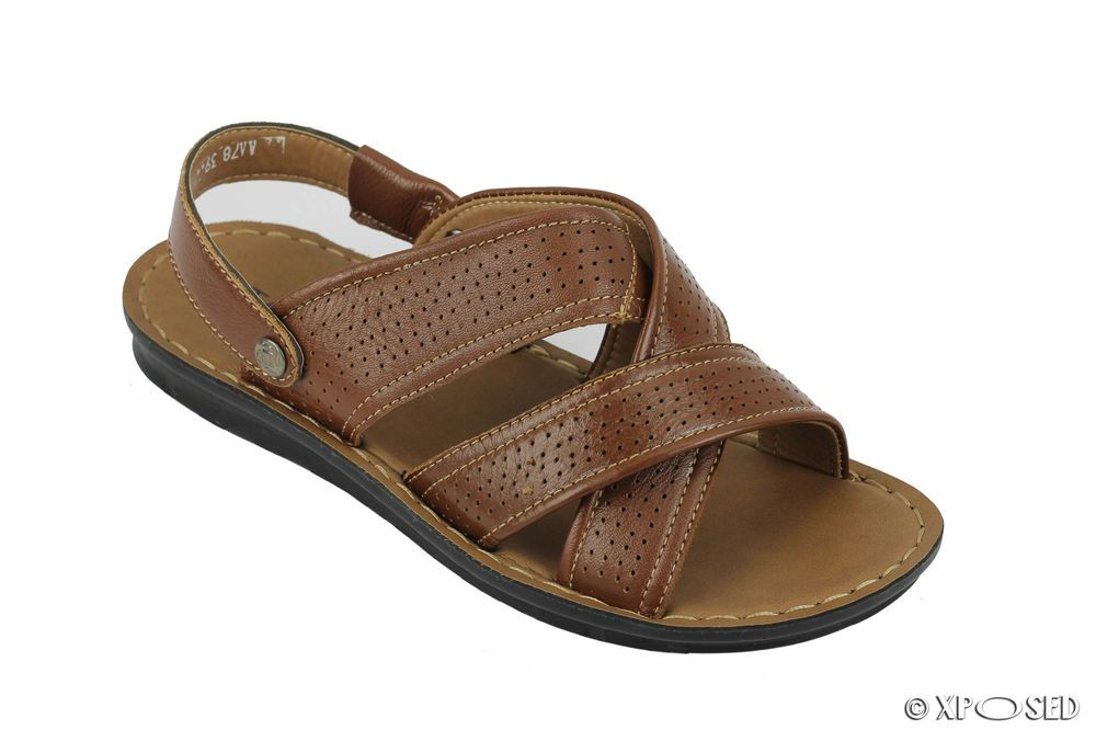 Elegant New Mens Brown Leather Sandals Back Strap Open Toe Beach Walking Jesus  Slippers