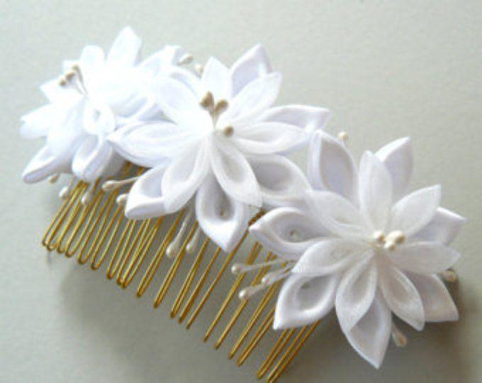 White Bridal Kanzashi Fabric Flower hair comb . Bridal Hair piece.