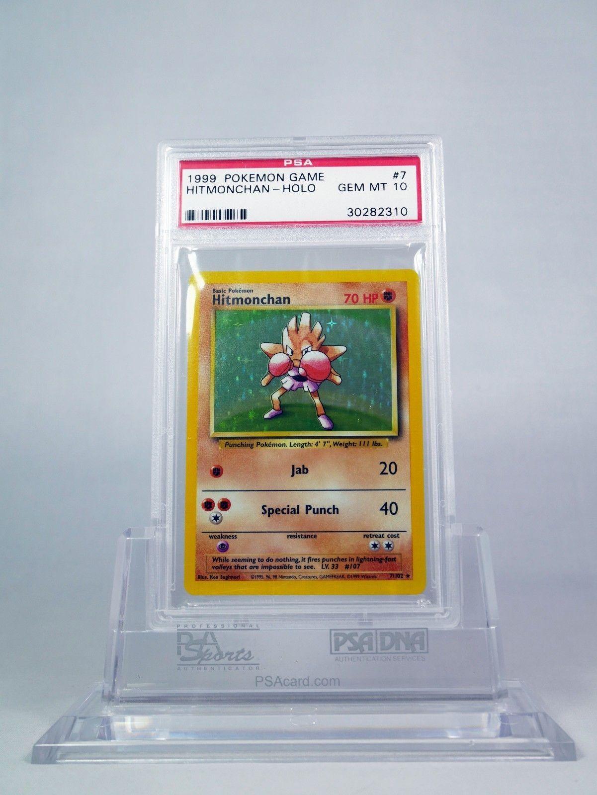 Hitmonchan 7//102 Holo Pokemon Card Unlimited Base Set PSA 9