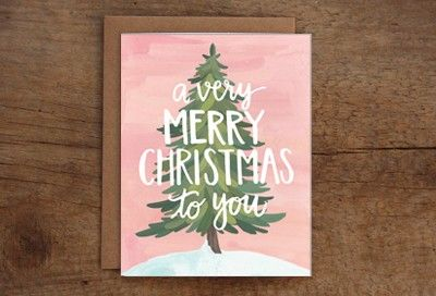 Very Merry Christmas Card by @1canoe2 $4.50 #greetings #card #christmas #festive #tree #illustration #typography