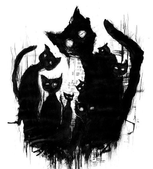 Halloween Black Cat Art Black Cat Art Cat Art Creepy Cat