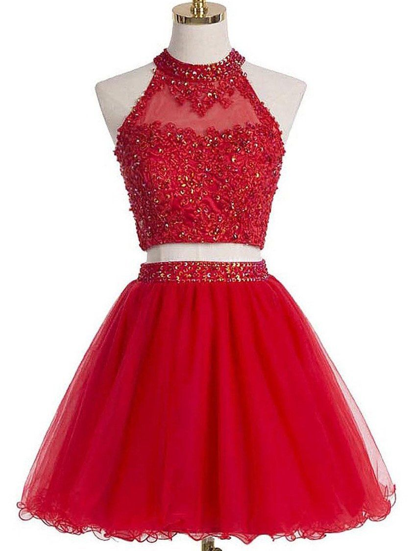 Two piece red homecoming dresses a line beading short prom dress