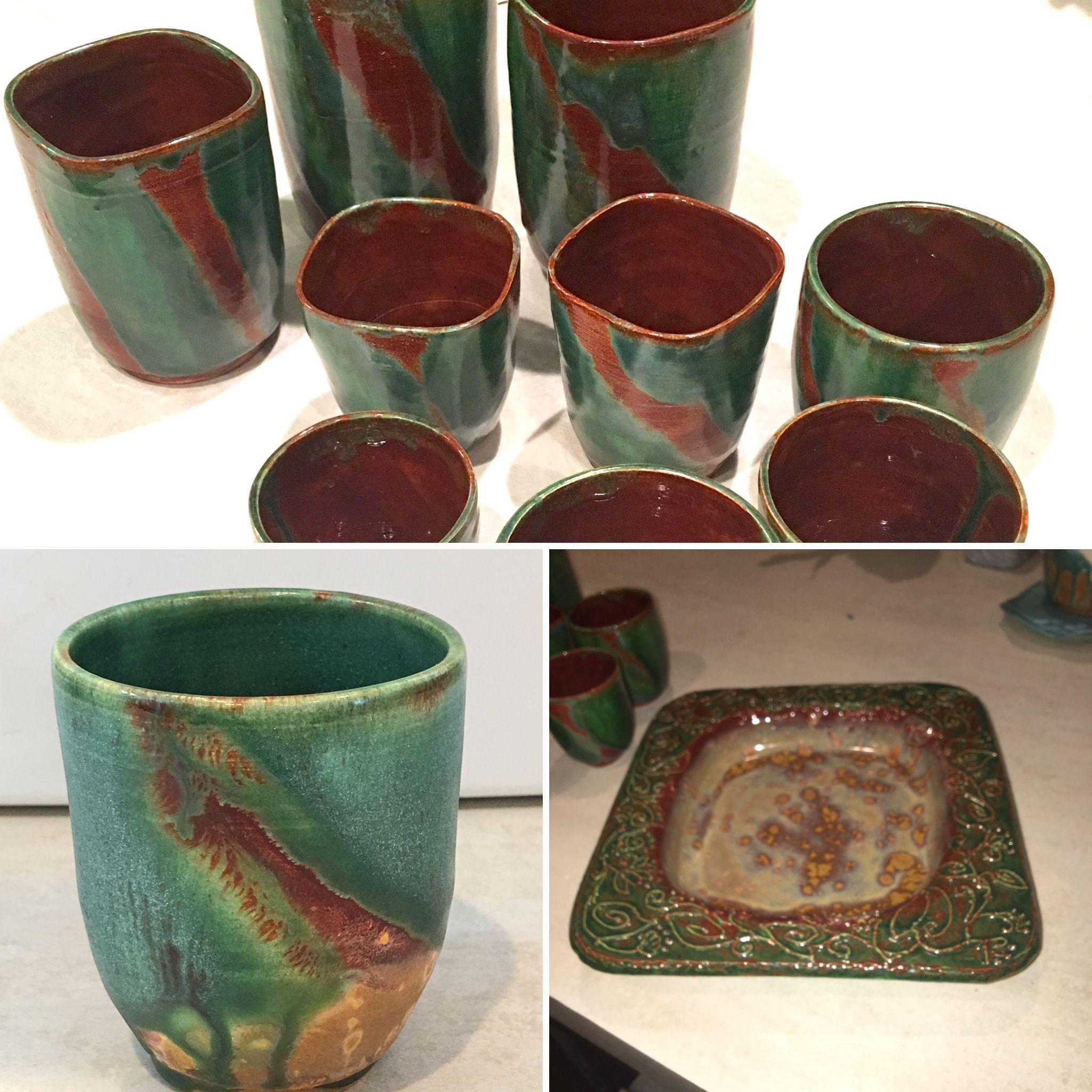 Low Fire Mayco Glazes Rust Red Malachite Patina Ceramic Techniques Pottery Vase Pottery Glazes