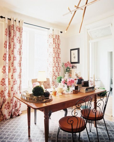 Curtains : Bohemian Eclectic Traditional Vintage Work Space   Home Office  Design Ideas   Lonny