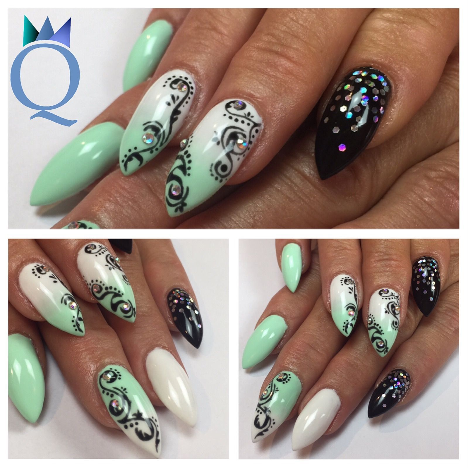 stilettonails #gelnails #nails #mintgreen #white #ombre #black ...