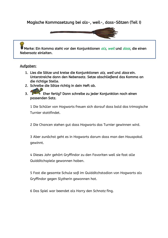 Magische Kommasetzung Bei Als Weil Dass Satzen Unterrichtsmaterial Im Fach Deutsch Kommasetzung Konjunktionen Unterrichtseinheiten