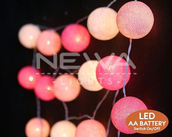 Pink String Lights 20 Led Battery Pastel Mix Pink White Cotton Ball String Lights