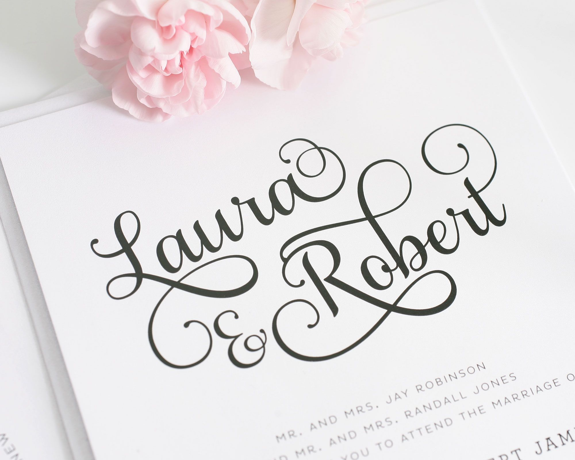 Romantic Wedding Invitations with big names in a gorgeous script