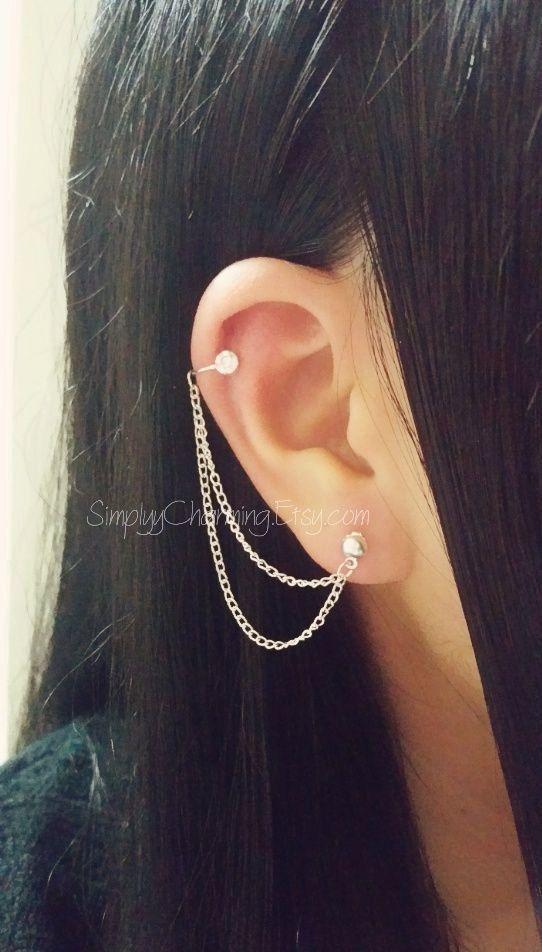 6839218bd3ffd Sterling Silver Rhinestone Cubic Zirconia Ear Cuff Cartilage Tragus Chain  Earring Double Lobe Helix Ear Cuff Jewelry   Tatoos   Pinterest   Earrings,  ...