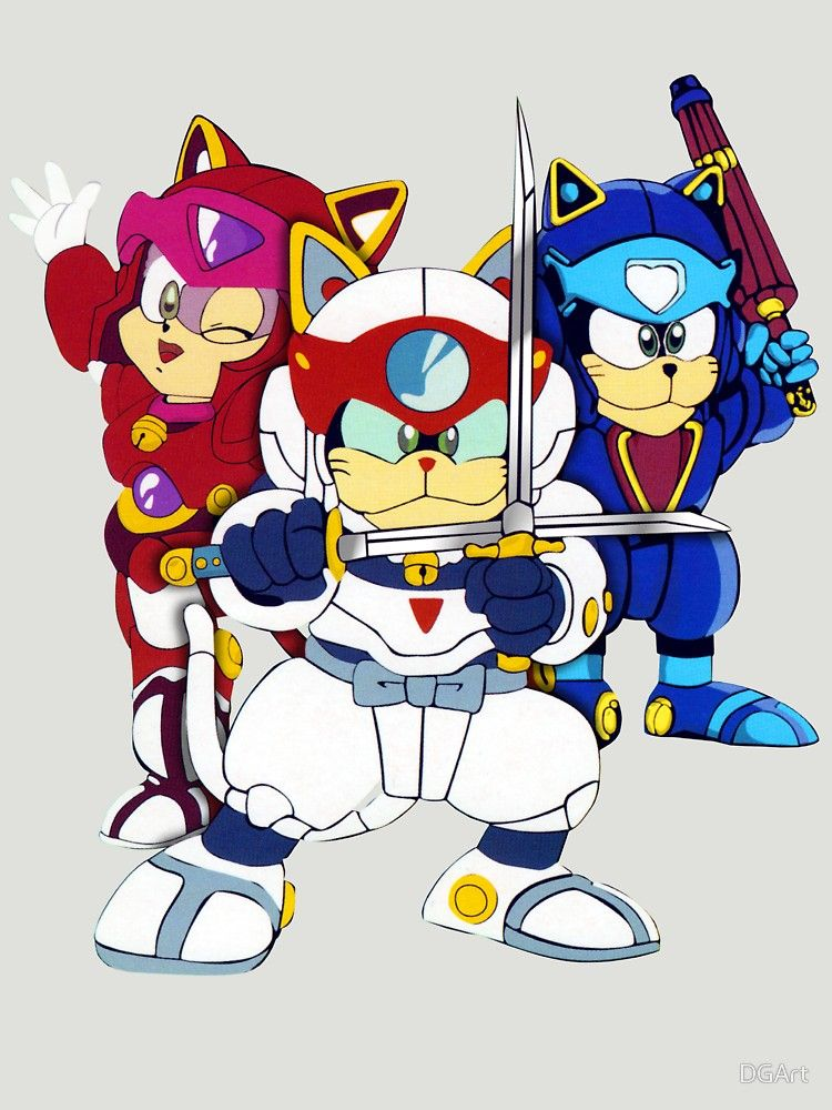 Samurai Pizza Cats Group Color Slim Fit TShirt